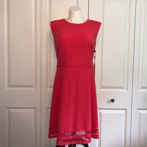 New Calvin Klein Fit & Flair Coral Dress 22W 24W